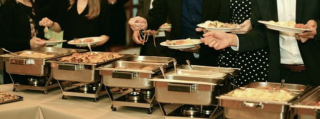 uses for a chafing dish Kitchen Appliance HQ line of people at a row of chafing dishes